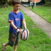 rugby training ball used in the back yard